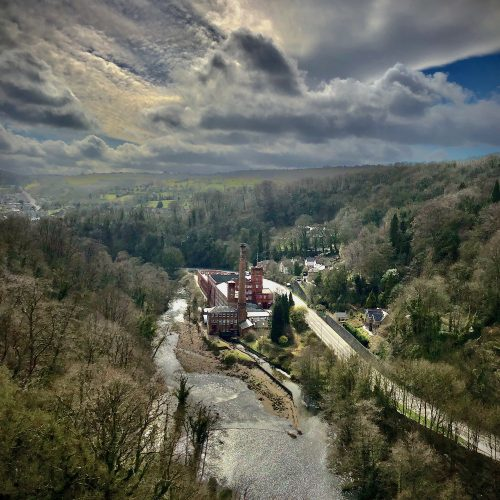 View High Above Matlock Bath with River Derwent and Masson Mill